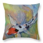 Maruten Butterfly Koi Throw Pillow by Michael Creese