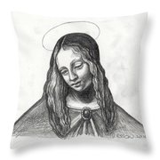 Mary After DaVinci Throw Pillow by Genevieve Esson
