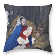 Mary And Baby Jesus Throw Pillow by Linda Clark