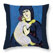 Mary And The Baby Jesus Throw Pillow by Genevieve Esson