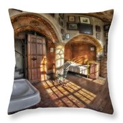 Master Bedroom At Fonthill Castle Throw Pillow by Susan Candelario