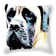Mastif Dog Art - Misunderstood Throw Pillow by Sharon Cummings