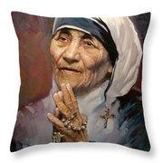 Mather Teresa Throw Pillow by Ylli Haruni