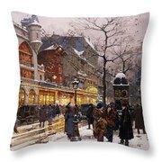 Matinee au Moulin Rouge Paris Throw Pillow by Eugene Galien-Laloue