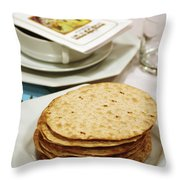 Matza And Haggada For Pesach Throw Pillow by Ilan Rosen