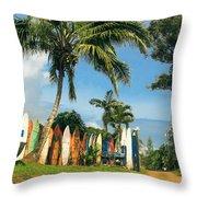 Maui Surfboard Fence - Peahi Throw Pillow by Sharon Mau