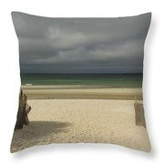 Mayflower Beach Storm Throw Pillow by Amazing Jules