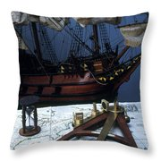 Mayflower Model With Quadrant Throw Pillow by Fred Maroon