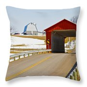 Mccolly Covered Bridge Throw Pillow by Jack R Perry