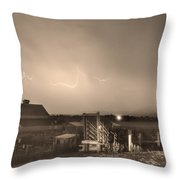Mcintosh Farm Lightning Thunderstorm View Sepia Throw Pillow by James BO  Insogna