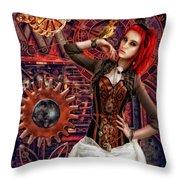 Mechanical Garden Throw Pillow by Mo T