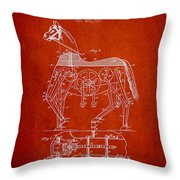 Mechanical Horse Patent Drawing From 1893 - Red Throw Pillow by Aged Pixel