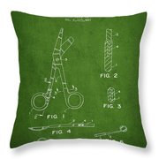 Medical Instruments Patent From 2001 - Green Throw Pillow by Aged Pixel