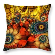 Medieval Ceremonial-fractal Art Throw Pillow by Karin Kuhlmann