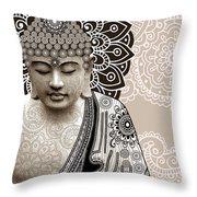 Meditation Mehndi - Paisley Buddha Artwork - copyrighted Throw Pillow by Christopher Beikmann