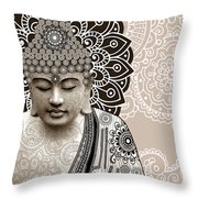 Meditation Mehndi - Paisley Buddha Artwork - Copyrighted Throw Pillow by Christopher Beikmann
