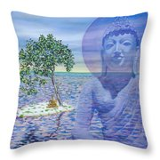 Meditation On Buddha Blue Throw Pillow by Dominique Amendola