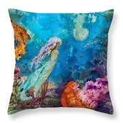Medusa's Garden Throw Pillow by Mo T