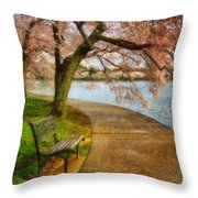Meet Me At Our Bench Throw Pillow by Lois Bryan