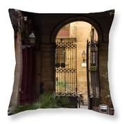 Meet Me For Coffee In The Courtyard Throw Pillow by Rene Triay Photography