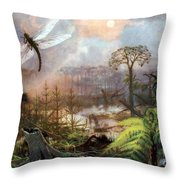 Meganeura In Upper Carboniferous Throw Pillow by Science Source