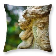 Memphis Elmwood Cemetery - Girl With Cross Close-up Throw Pillow by Jon Woodhams