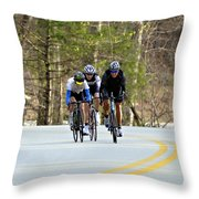 Men In A Bike Race Throw Pillow by Susan Leggett