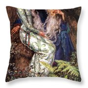 Merlin And Vivien Throw Pillow by Eleanor Fortescue Brickdale