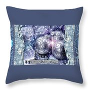 Merry Christmas Blue Throw Pillow by Mo T