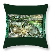 Merry Christmas Green Throw Pillow by Mo T