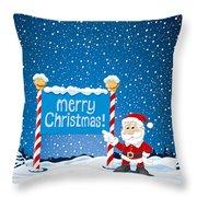 Merry Christmas Sign Santa Claus Winter Landscape Throw Pillow by Frank Ramspott