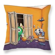 Messy Monsters Throw Pillow by Dana Alfonso