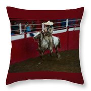 Mexican Cowboy July 4th Rodeo Chandler Arizona 1999 Throw Pillow by David Lee Guss