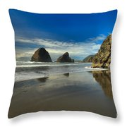 Meyers Creek Beach Throw Pillow by Adam Jewell