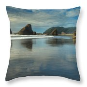Meyers Creek Sea Stack Blues Throw Pillow by Adam Jewell