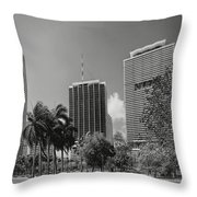Miami Cityscape  Bw Throw Pillow by Rudy Umans