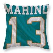 Miami Dolphins Dan Marino Throw Pillow by Joe Hamilton