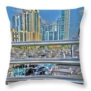 Miami Marina Throw Pillow by Claudia Mottram