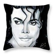 Michael Jackson Portrait Throw Pillow by Alban Dizdari