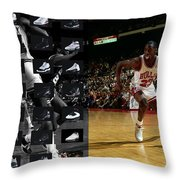 Michael Jordan Shoes Throw Pillow by Joe Hamilton