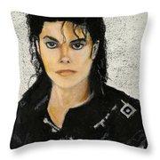 Michaeljacksoninoilpastel Throw Pillow by Lance Sheridan-Peel