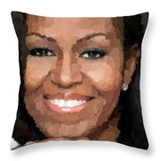 Michelle Obama Throw Pillow by Samuel Majcen