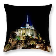 Midnight Mont Saint Michel Throw Pillow by Olivier Le Queinec