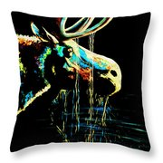Midnight Moose Drool  Throw Pillow by Teshia Art