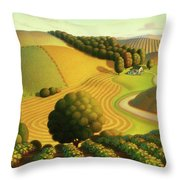 Midwest Vineyard Throw Pillow by Robin Moline