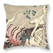 Minamoto no Muneyuki Ason Throw Pillow by Hokusai