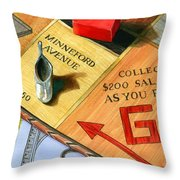 Minneford Monopoly Throw Pillow by Marguerite Chadwick-Juner