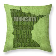 Minnesota Word Art State Map On Canvas Throw Pillow by Design Turnpike