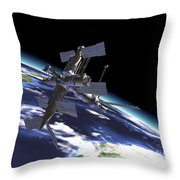 Mir Russian Space Station In Orbit Throw Pillow by Leonello Calvetti