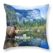 Mirror Lake Bear Throw Pillow by Alixandra Mullins